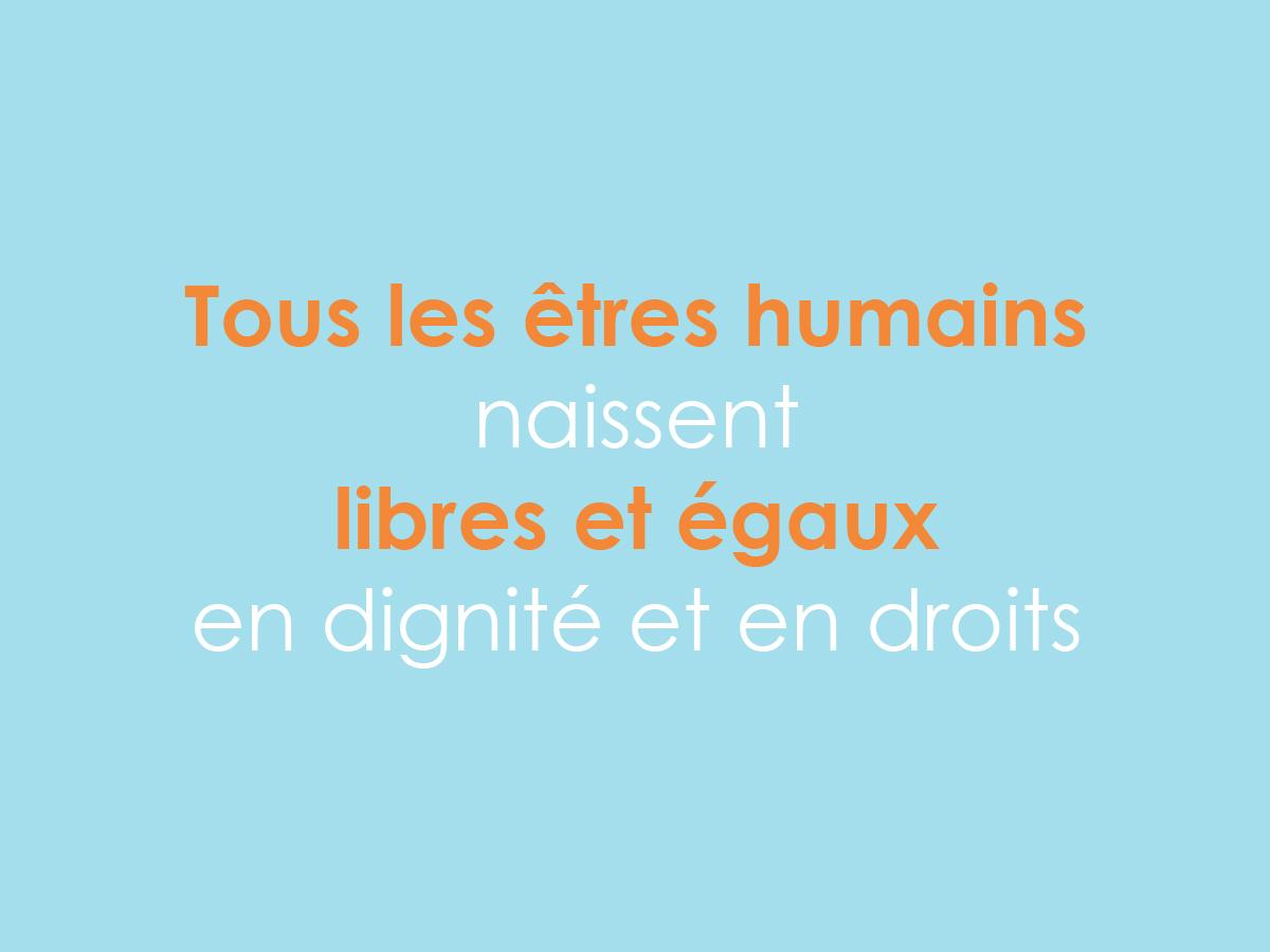 """Journée des droits de l'Homme, """"Tous les êtres humains naissent libres et égaux en dignité et en droits"""", déclaration universelle des droits de l'Homme de l'ONU"""