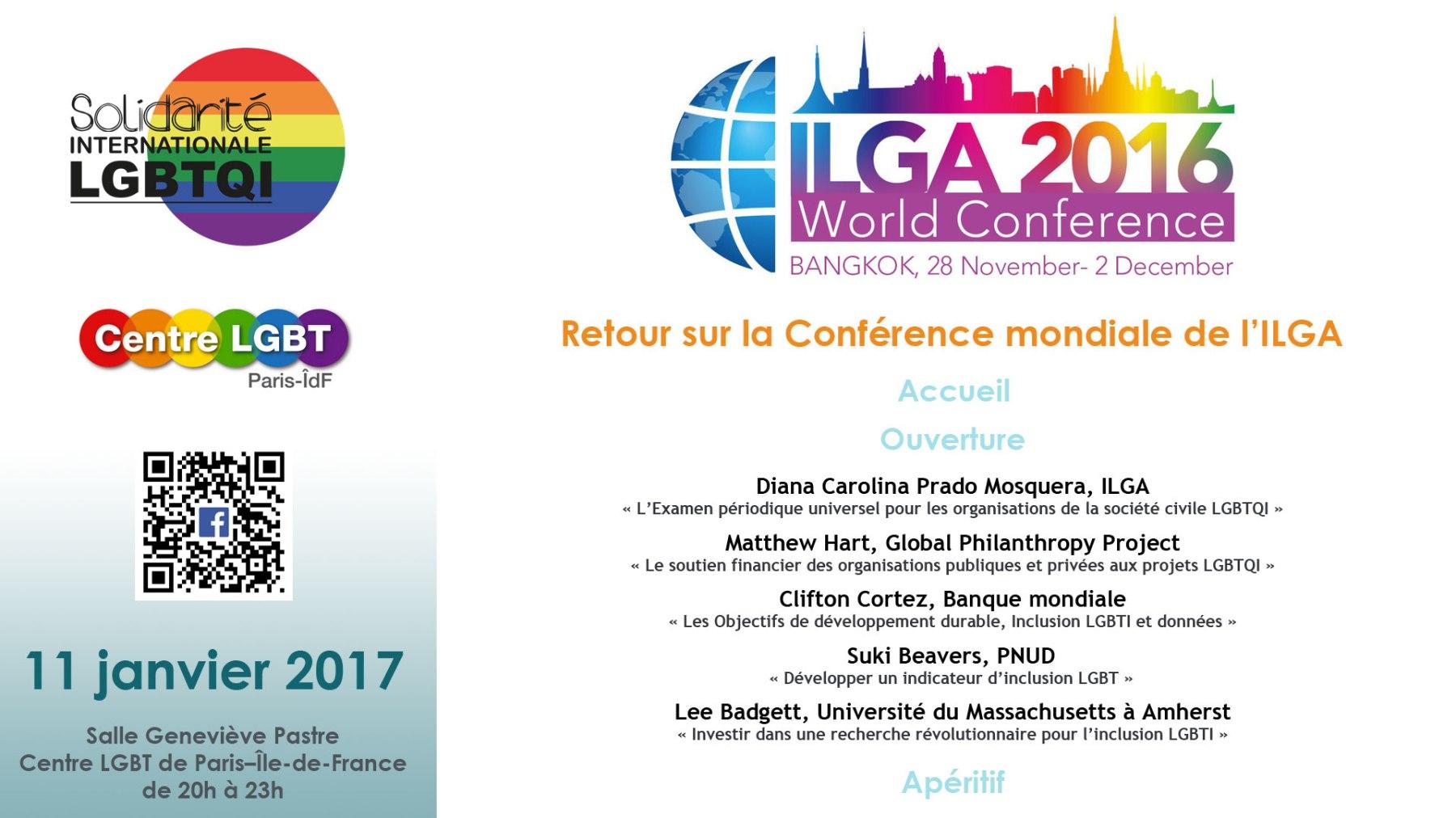 """SIL et Centre LGBT de Paris – Île-de-France organisent une rencontre """"Retour sur la Conférence mondiale de l'ILGA"""""""